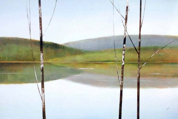 Sydney Edmunds Oil Painting of Birch Trees on Lake with Mountain Hills in Blue and Green