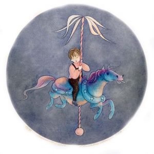 Pat Buckley Moss Carousel Lad etching of young boy riding a pink purple and blue carousel horse