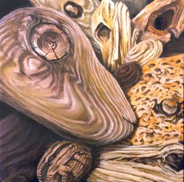 Ryan Penney small realistic painting of driftwood