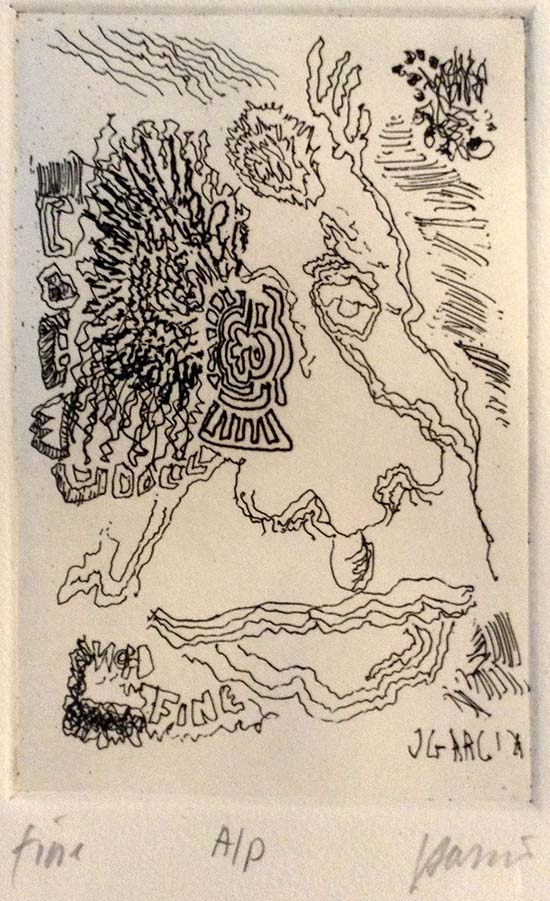 Jerry Garcia - Fine - Hand signed limited edition etching print self portrait of Jerry Garcia