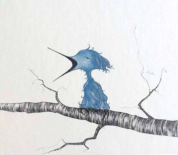 Pat Buckley Moss Fledgling etching of blue bird perched on a grey tree branch