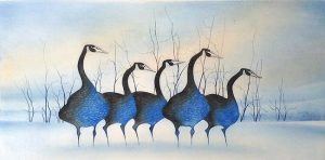 Pat Buckley Moss Geese In Blue etching of blue geese in front of trees in winter