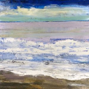 Helen Zarin Painting Contemporary Abstract with Coastal Blue Waves Horizon Lines Foam Sky Clouds Beach