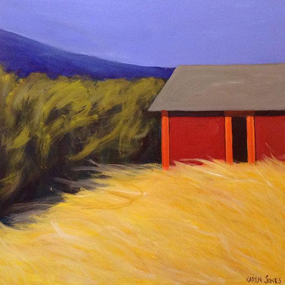 Karen Jones Painting - Contemporary Red Barn in Field