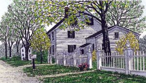 Carol Collette - May - etching of house with white fence and yard with green trees in spring