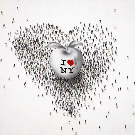 Craig Alan - New York Groove - Limited edition print of heart made of tiny people with apple inside
