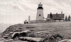 Carol Collette Etching Pemaquid Light - lighthouse on the coast in Maine