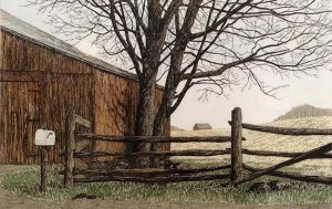 Carol Collette - Red barns - etching on paper of rust coloredNew England barn in late fall with trees, fence, and mailbox