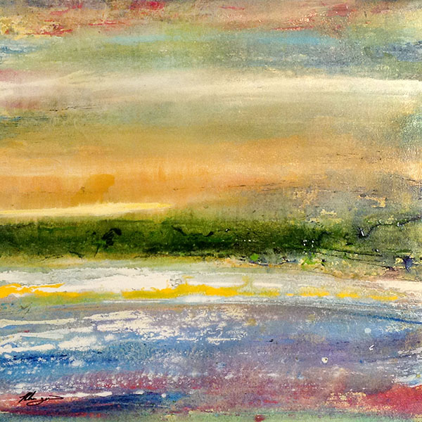 Helen Zarin Contemporary Abstract Painting Seascape Marsh Ocean Horizon with Sunset Yellow Sky