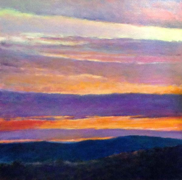 Ken Elliot Painting - Abstract Landscape Contemporary with Orange and Purple