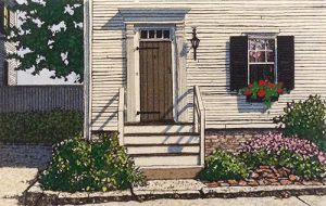 Carol Collette etching on paper of front door of home with stairs and shrubs