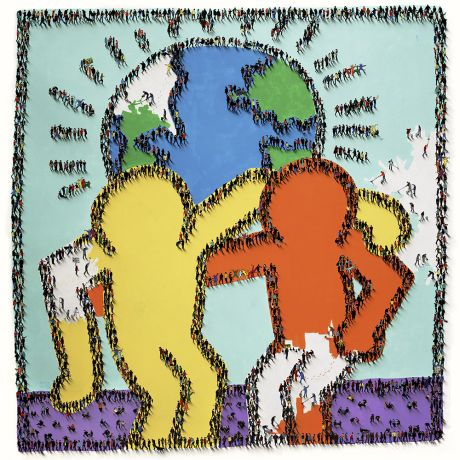Craig Alan - World of Many Shades - limited edition print of colorful Keith Haring style figures