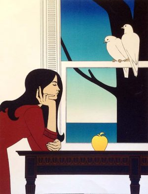 Will Barnet - Atalanta print of dark haired girl in red dress with gold apple and 2 doves