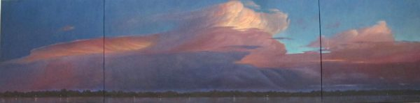 Lorena Pugh oil painting of pink clouds in a blue sky over a field at dusk