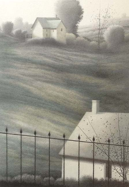 Robert Kipniss - Far House lithograph of 2 houses separated by a field of grass