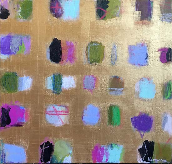 Ellen Hermanos - Golden Windows oil painting of dots on a gold background