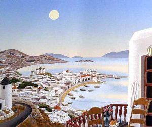 Thomas McKnight - Harbor print of a harbor in greece with houses and boats