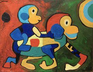 Menno Baars painting of 2 monkeys