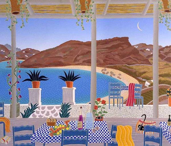 Thomas McKnight - Pan's Cove print of a terrace set for dining overlooking a beach