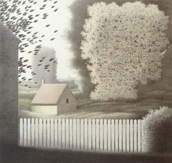 Robert Kipniss - Picket Fence IV peaceful lithograph of house and trees