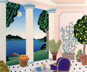 Thomas McKnight - Plantation print of a terrace with furniture and plants overlooking the water