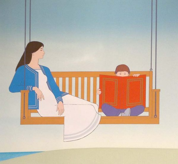 Will Barnet - Summer print of a mother and son reading a book on a porch swing