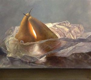 Lorena Pugh The Pair Oil Painting on Canvas of 2 Pears Fruit in Tissue Paper Like A Woman Draped Nude