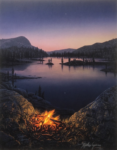 Stephen Lyman - Evening Star print of campfire on edge of lake at night