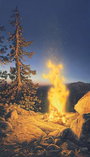 Stephen Lyman - Sunset Fire print of a campfire on the edge of a cliff at dusk in Yosemite National Park