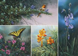 Stephen Lyman - Wildflower Suite set of 4 prints with hummingbird butterfly tiger lillies and ladybug