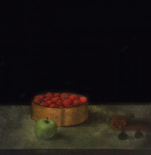 Tomoe Yokoi - print of a tin of strawberries and a green apple on a table