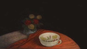 Tomoe Yokoi - print of a vase of flowers and a teacup sitting on a table