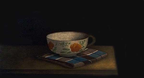 Tomoe Yokoi - print of a teacup with orange flowers on a table