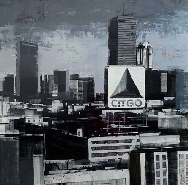 Kevin Kusiolek Painting of Black and white Boston skyline with Citgo sign and Prudential Building and John Hancock Tower