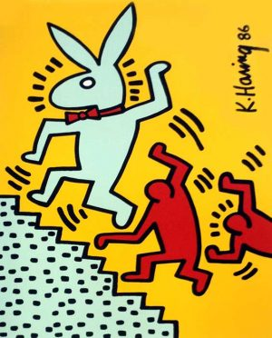 Keith Haring - Playboy 2 Bunny on the run graffiti style screen print in yellow and red of playboy bunny going up steps