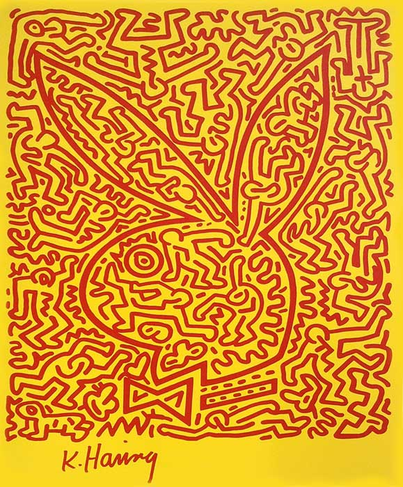 Keith Haring - Playboy Bunny number 2 print of red figures making up the outline of playboy bunny