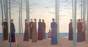 Will Barnet - Spring Morning print of women gathered at a forest's edge on a spring morning