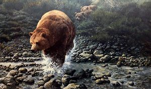 John Seery-Lester - print of mama bear and cubs emerging from trees into water