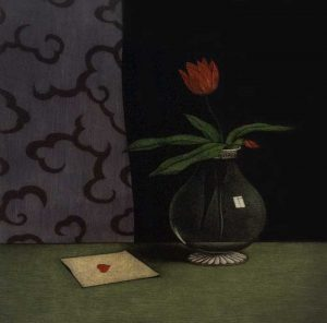 Tomoe Yokoi - print of a vase with a red tulip and a letter on a dark background