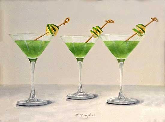 Patti Zeigler painting of three apple martinis with green apple garnish