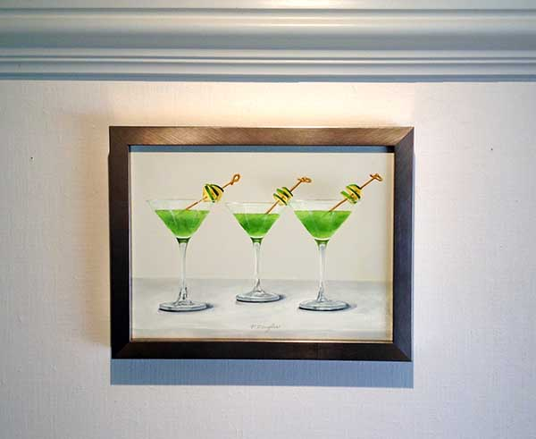 Patti Zeigler framed painting of three apple martinis with green apple garnish