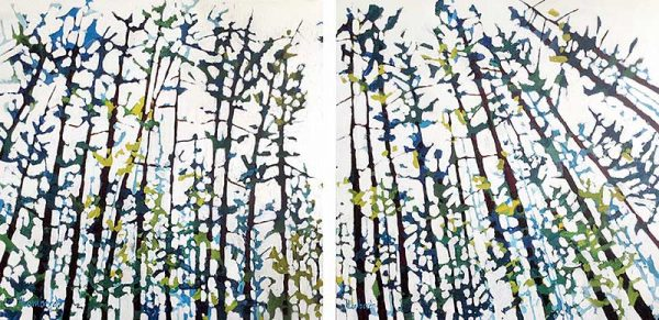Holly Lombardo diptych paintings of thin trees