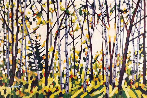 Holly Lombardo painting of sunlight coming through forest of birch trees