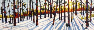 Holly Lombardo painting trees in forest with sunlight in winter