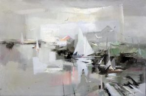 Charles Gruppe Painting of early morning harbor with sailboats