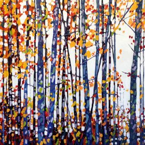 Holly Lombardo painting of trees in forest in autumn