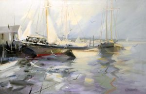 Charles Gruppe Painting of New England Harbor with sailboats