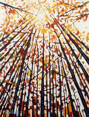 Holly Lombardo painting looking up at trees in a forest