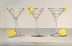 Patti Zeigler painting of three martinis with lemon