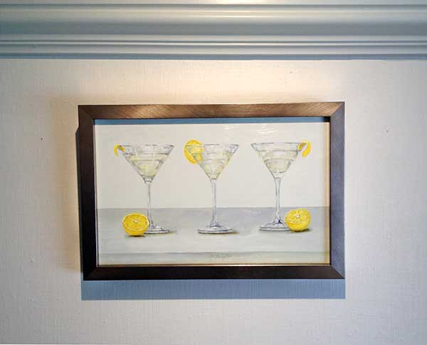 Patti Zeigler framed painting of three martinis with lemon